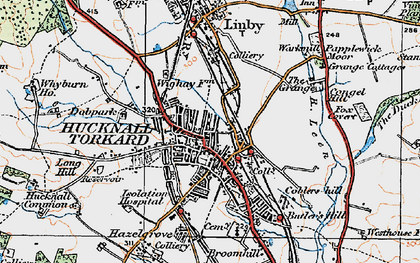 Old map of Hucknall in 1921