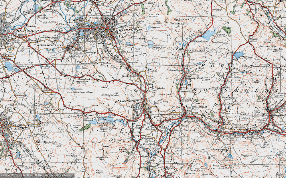 Old Map of Historic Map covering Acre in 1924