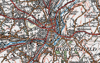 Old map of Huddersfield in 1925
