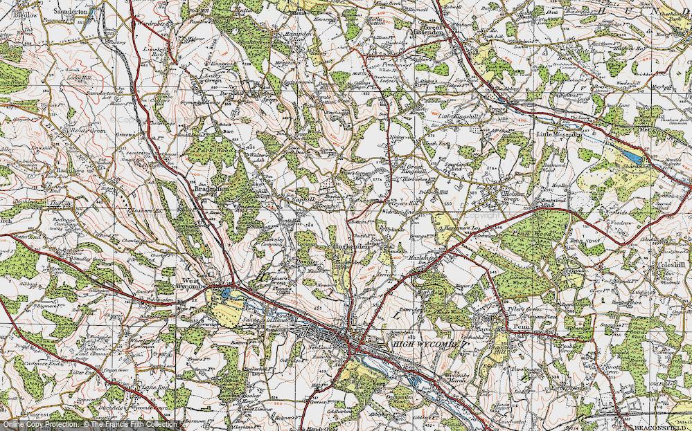 Old Map of Hughenden Valley, 1919 in 1919