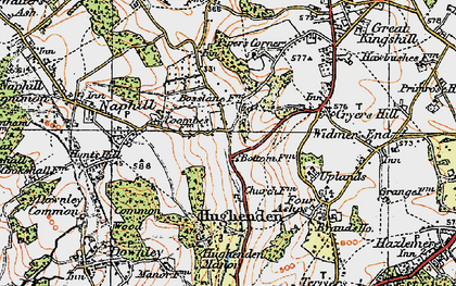 Old map of Hughenden Valley in 1919