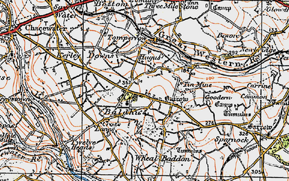 Old map of Hugus in 1919