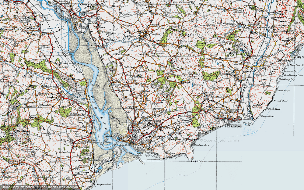 Old Map of Historic Map covering A-la-Ronde in 1919