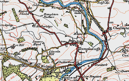Old map of Leazes Head in 1925