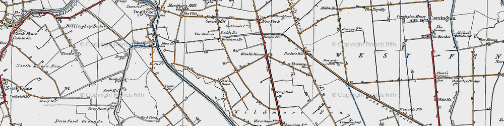 Old map of Wildmore Fen in 1922