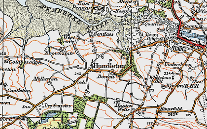 Old map of Hundleton in 1922