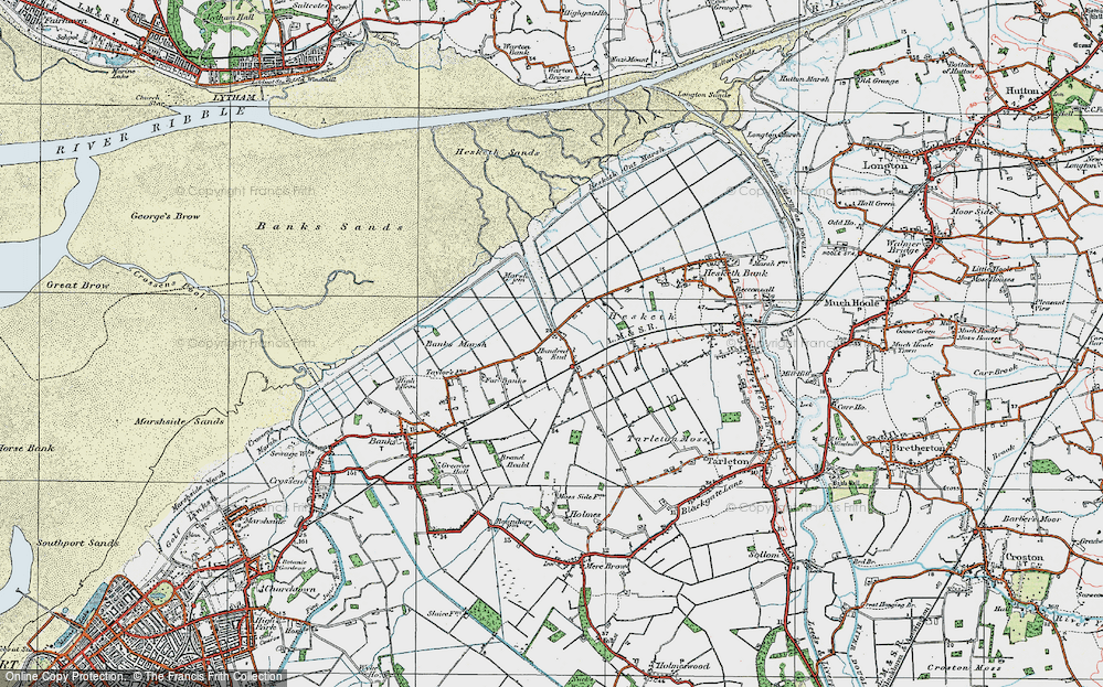 Old Map of Historic Map covering Banks Marsh in 1924