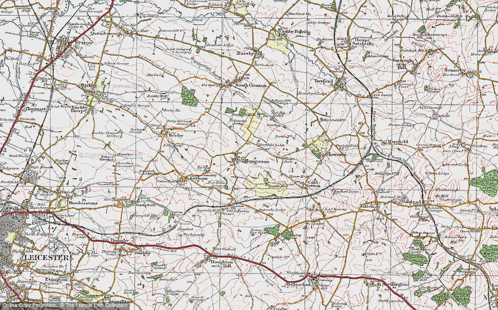 Old Map of Historic Map covering Baggrave Village in 1921
