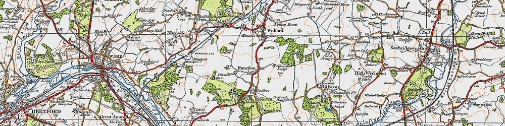 Old map of Hunsdon in 1919