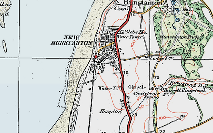 Old map of Hunstanton in 1922