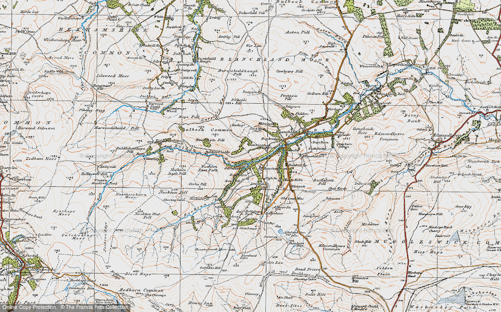 Old Map of Hunstanworth, 1925 in 1925