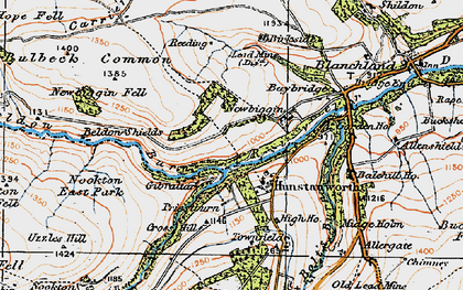 Old map of Hunstanworth in 1925