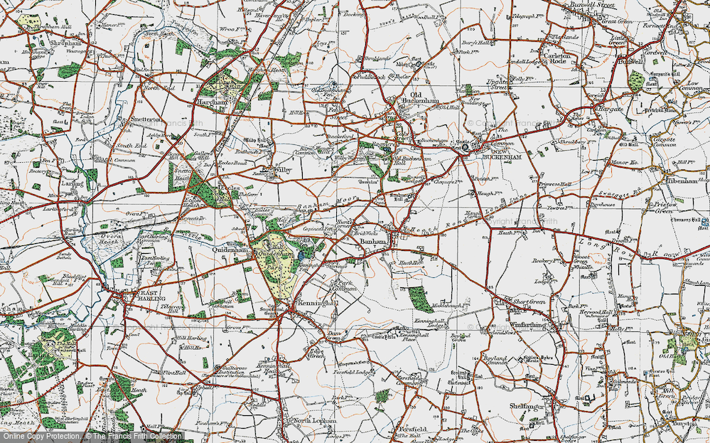 Old Map of Historic Map covering Banham Moor in 1920
