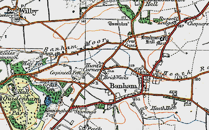 Old map of Banham Moor in 1920