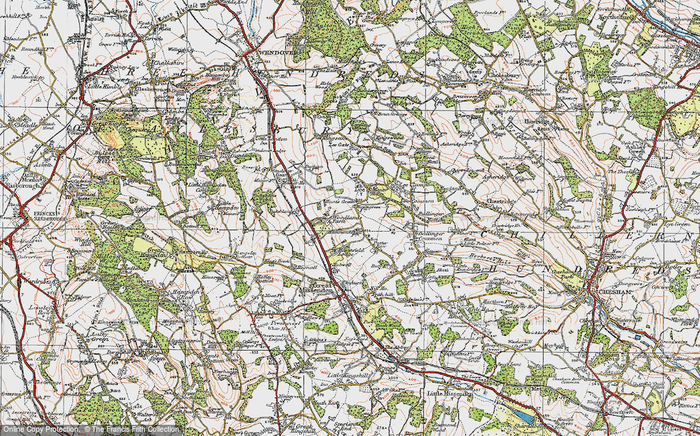 Old Map of Historic Map covering Woodlands Park in 1919