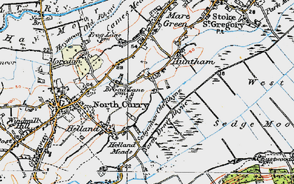 Old map of Sedgemoor Old Rhyne in 1919