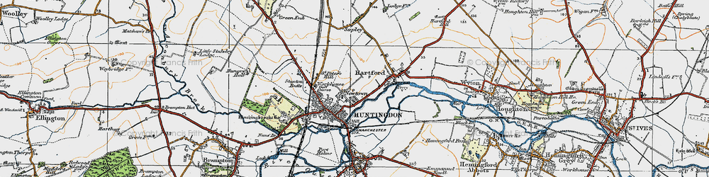 Old map of Huntingdon in 1919