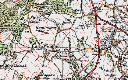 Old map of Willowmoor in 1921