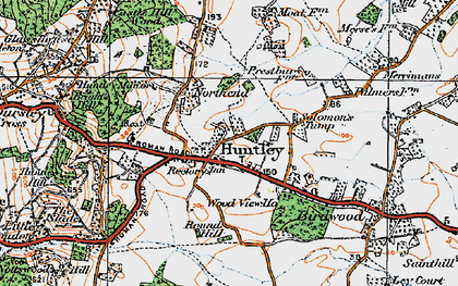 Old map of Huntley in 1919