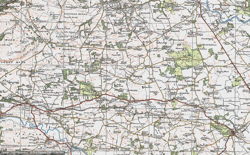 Old Map of Historic Map covering Wyvill Grange in 1925