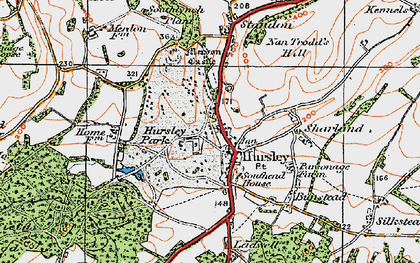 Old map of Hursley in 1919