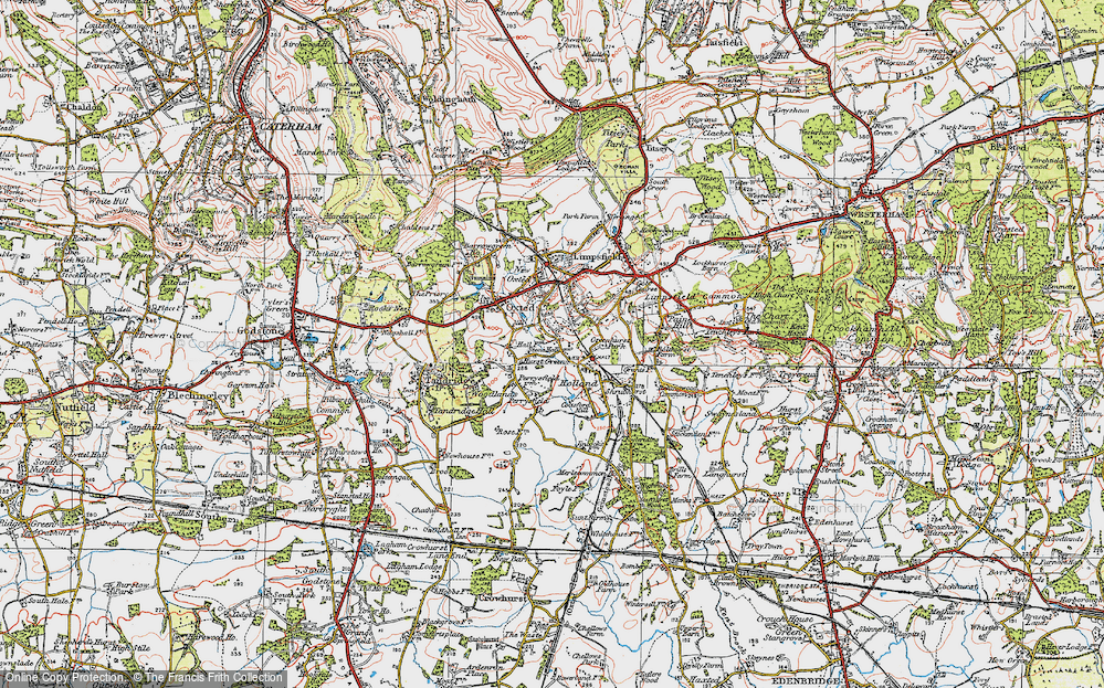 Old Map of Hurst Green, 1920 in 1920