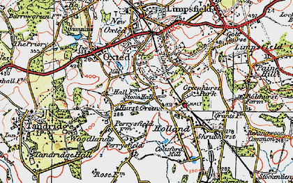 Old map of Hurst Green in 1920
