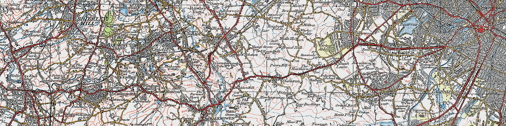 Old map of Hurst Green in 1921