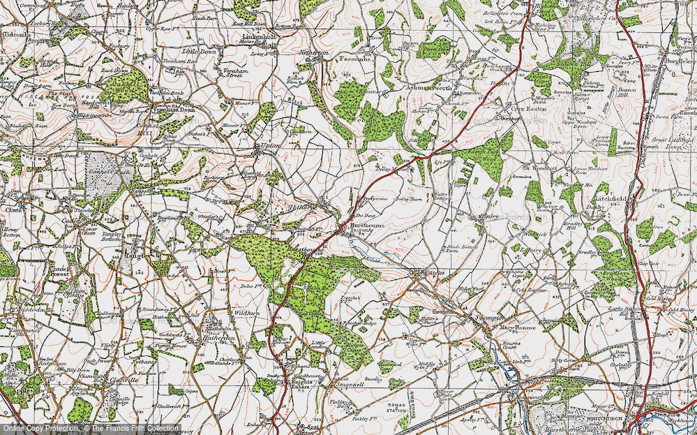 Old Map of Hurstbourne Tarrant, 1919 in 1919