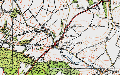 Old map of Hurstbourne Tarrant in 1919