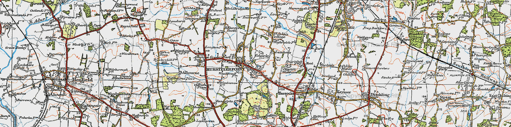 Old map of Hurstpierpoint in 1920