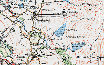 Old map of Worsthorne Moor in 1924