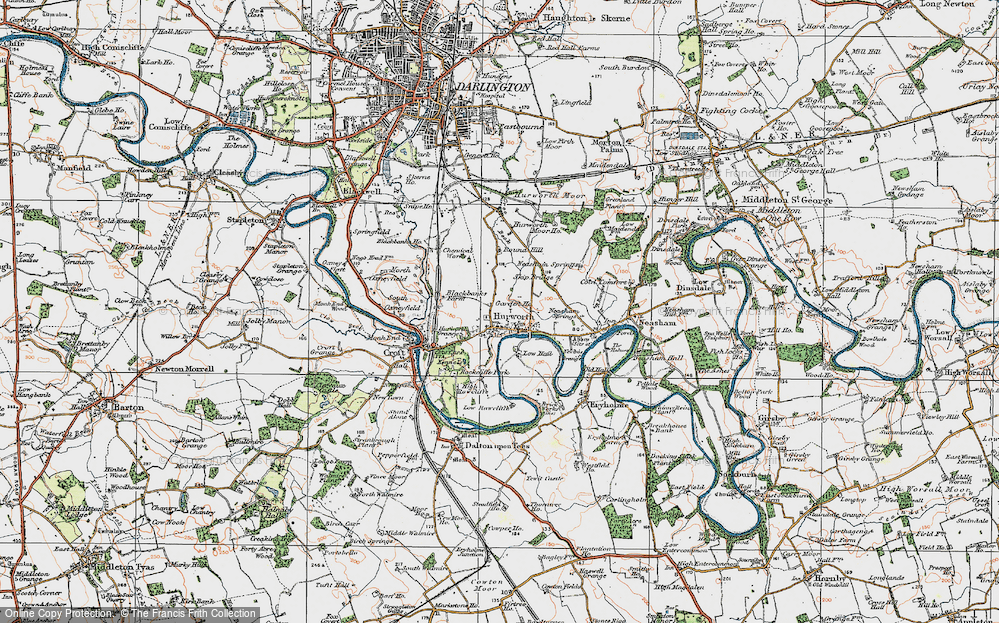 Old Map of Historic Map covering Ashfield in 1925