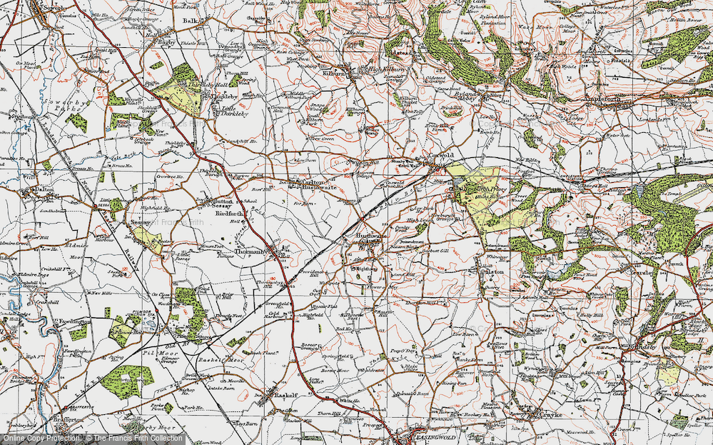 Old Map of Historic Map covering Acaster Hill in 1925