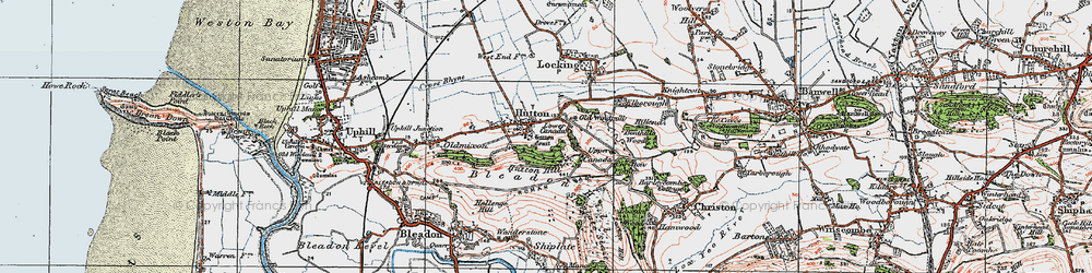 Old map of Hutton in 1919