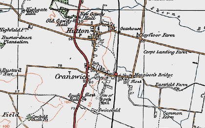 Old map of Hutton Cranswick in 1924