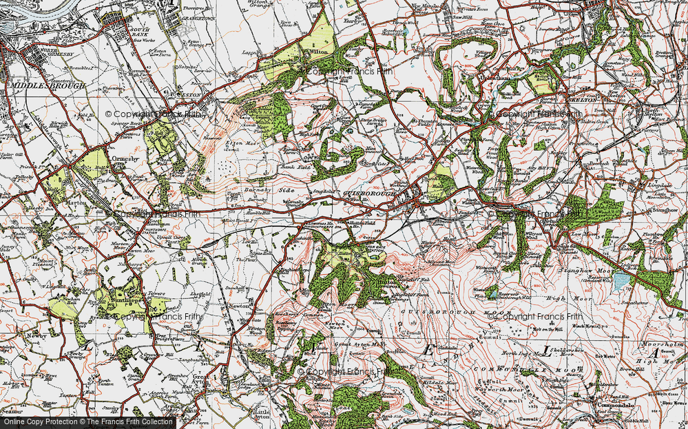 Old Map of Historic Map covering Woodhouse in 1925