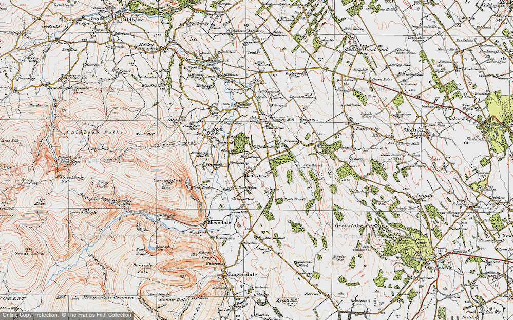 Old Map of Historic Map covering Thwaite Hall in 1925