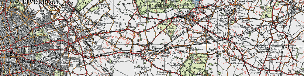 Old map of Huyton-With-Roby in 1923