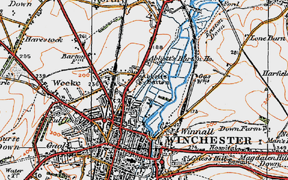 Old map of Abbotts Barton Ho in 1919