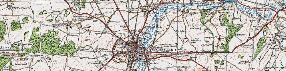 Old map of Abbott's Barton in 1919
