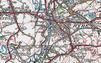 Old map of Hyde in 1924