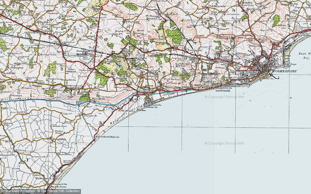 Old Map of Hythe, 1920 in 1920