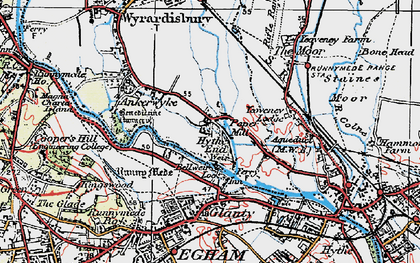 Old map of Wraysbury River in 1920