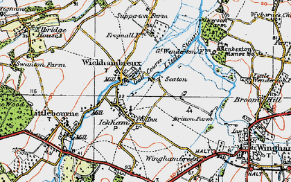 Old map of Ickham in 1920