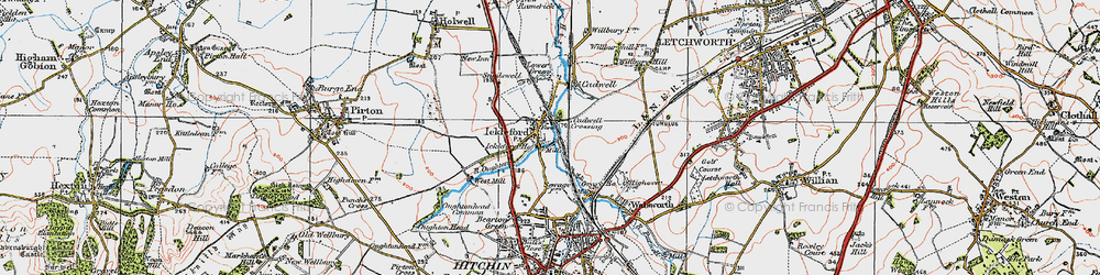 Old map of Ickleford in 1919