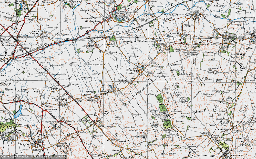 Old Map of Historic Map covering Alfred's Castle in 1919