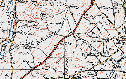 Old map of Afon Glandy in 1922