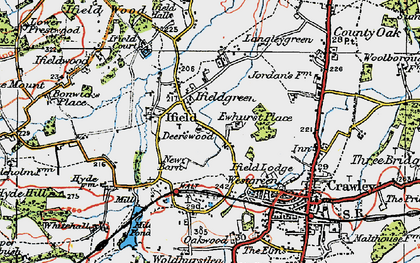 Old map of Ifield in 1920