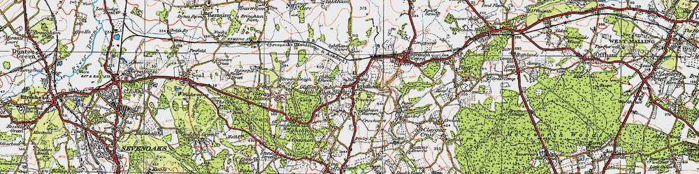 Old map of Ightham in 1920